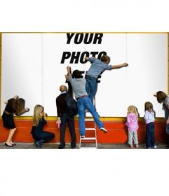 Photomontage os a poster on the street where you can put your photo at background, very realistic