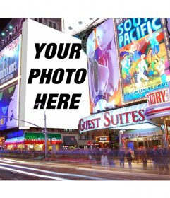 Photomontage with posters in Times Square