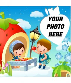 Cheerie postcard for children with strawberry shaped frame