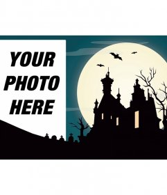 Photomontage with a haunted house