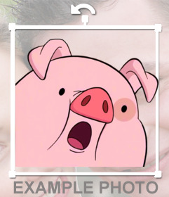 Online photomontage to put a pink piggy in your photos. Put a pig in your images with this sticker online. He has surprised face, and is perfect for decorating photos