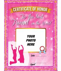 Pink certificate with stars and sparkles to give to your best friend and put a picture on it and text online