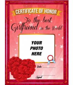 Certificate to the best girlfriend in the world with red roses in heart shape to personalize with a photo