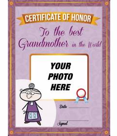 Diploma to print and customized with a photo of your grandmother online free