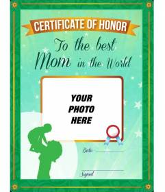 Diploma certified as the best mother in the world