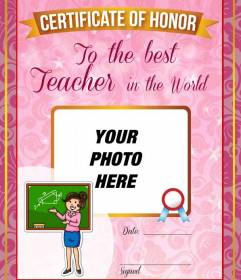 Certificate to the best teacher in the world to customize online and free
