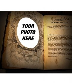 Photo montage to put your picture in a book of Cervantes