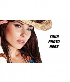 Photomontage with a pretty girl posing with your photo