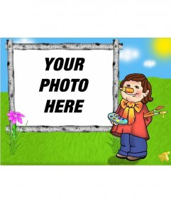 Frame for photos of child child painting a canvas