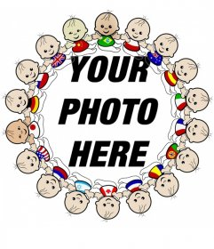 Photo frame photo with edge of childrens of all nationalities with their flags