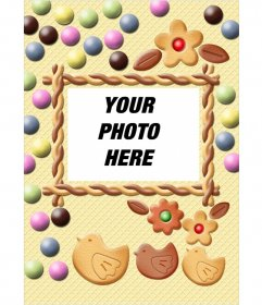 Insert a picture in this frame of cookie and candy of pastel colors