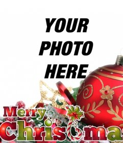 Christmas postcard with red ball and ornaments with the text MERRY CHRISTMAS in Christmas colors