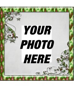 Christmas photo frame with green border where you can put a photo