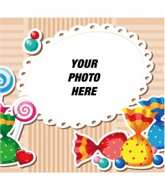 Child picture frame with colorful candy