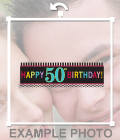 Ribbon to celebrate 50th birthday and add it on your photos to decorate