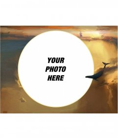 Photo frame with your image in a circular shape in the clouds