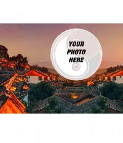 Postcard of a Chinese city with your photo