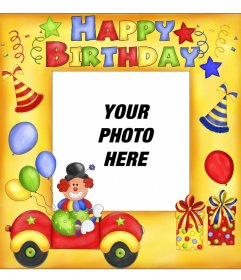 Happy birthday postcard with clown and balloons
