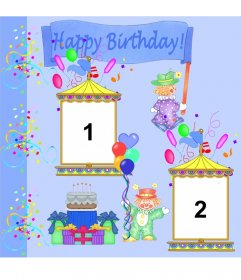 Birthday greeting card personalized with 2 photos. Clowns and party decorations