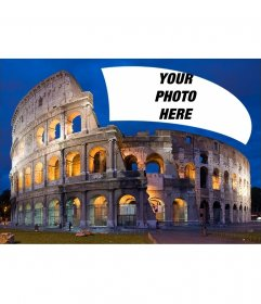 Postcard with the Colosseum of Rome with your photo