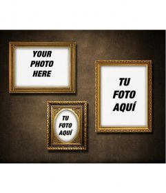 Wall with 3 golden frames to put your photos with a retro vintage touch