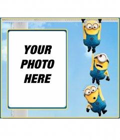 Photo frame of three minions