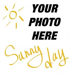 "Square shaped collage with the sun and yellow text that says ""Sunny Day"" to put on your photographs"
