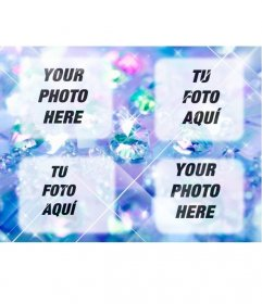 Create a collage with bright blue diamonds with 4 uploaded photos online and also add a text