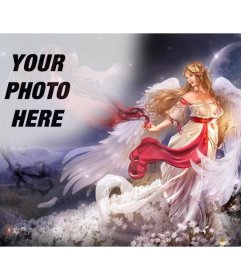 Create a collage online with an winged woman angel in a fantasy world surrounded by flowers