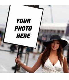 Photomontage with a photo of a Formula One girl with a sign to put your photo
