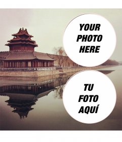 Collage for two photos with a landscape of the Forbidden City in China