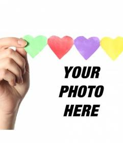 Add a garland of colored paper hearts to your digital photos with this photo montage