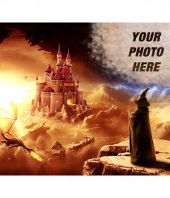 Create a collage online in a fantasy world with a magician looking at a castle and a dragon