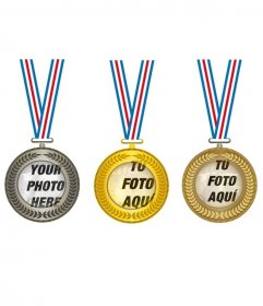 Collage with three gold, silver and bronze  medals, to put in the center three photos of the champions