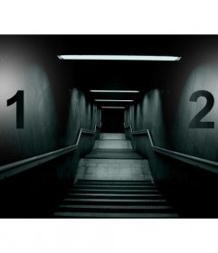 Create a terrifying collage with the image of a dark staircase and two photographs on each side