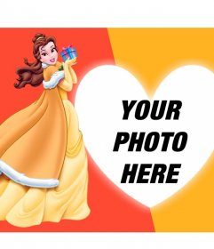 Composition with Princess Belle from Beauty and the Beast with a gift and a photo with your heart