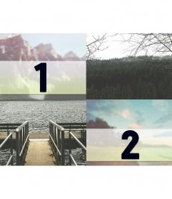 Collage with montage of a lake in the mountains for two photographs