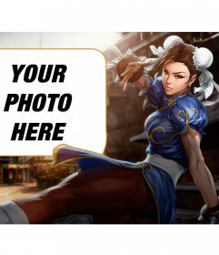 Collage with Chun-li from Street Fighter kicking while looking intently