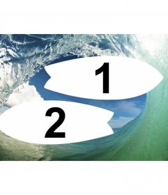 Collage of waves and surfing with two photo frames shaped as surfboards