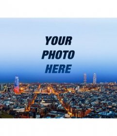 Collage with the Barcelona skyline to put a picture in the sky and customize with text
