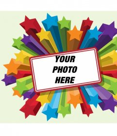 Frame photos of colorful stars with a red border to put your picture