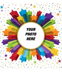 Photo frame of colors and stars with rounded shape