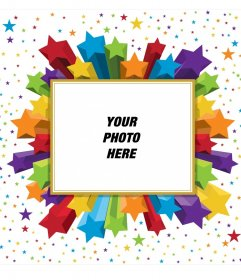 Rectangular photo Frame colorful stars, which you can use for your profile picture
