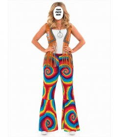 Online photomontage to put your face in a hippie woman