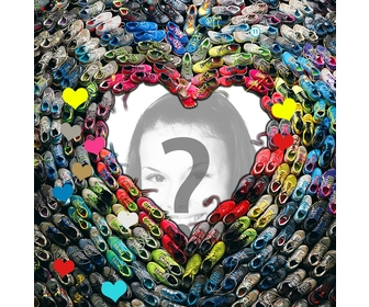 Photomontage with a heart made of slippers