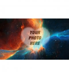 Collage to put your photo in the middle of a misty space scene