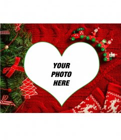 Collage with your picture in a heart shape with a Christmas background
