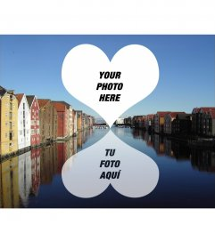 Postcard for two photos of Trondheim