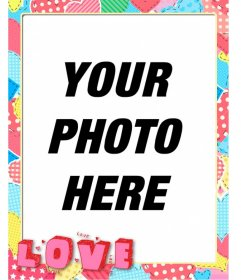 Heart scraps photo frame with the word love