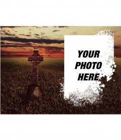 Photomontage of a field with a cross